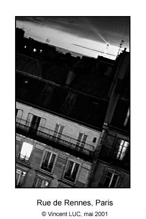 Ma fenetre rue de Rennes, Paris, Photo noir et blanc © Vincent LUC