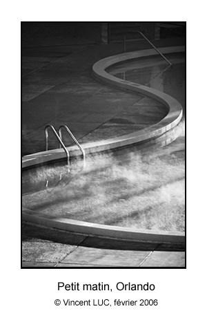 Piscine au petit matin, Orlando, photo noir et blanc Vincent LUC